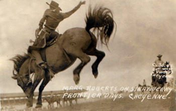 Marge Roberts riding in the Cheyenne Frontier Days Rodeo