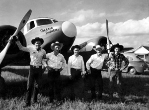 Gerald Roberts & Casey Tibbs & friends were among the first  rodeo cowboys to travel by airplane from rodeo to rodeo.
